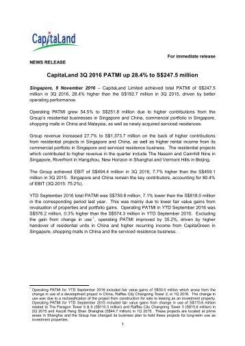 CapitaLand 3Q 2016 PATMI up 28.4% to S$247.5 million