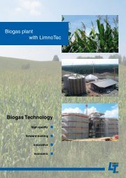 Biogas Technology Biogas plant with LimnoTec