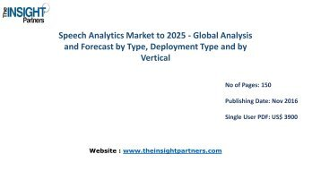 Speech Analytics Market Global Analysis & 2025 Forecast Report |The Insight Partners