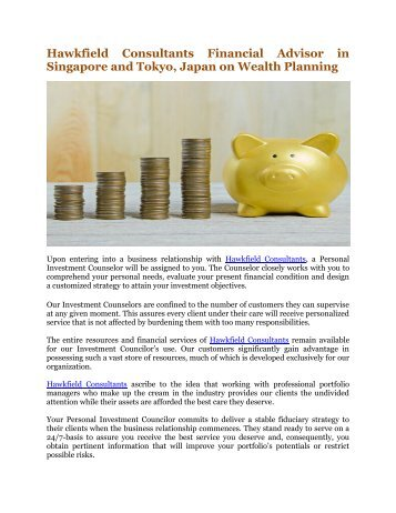 Hawkfield Consultants Financial Advisor in Singapore and Tokyo, Japan on Wealth Planning