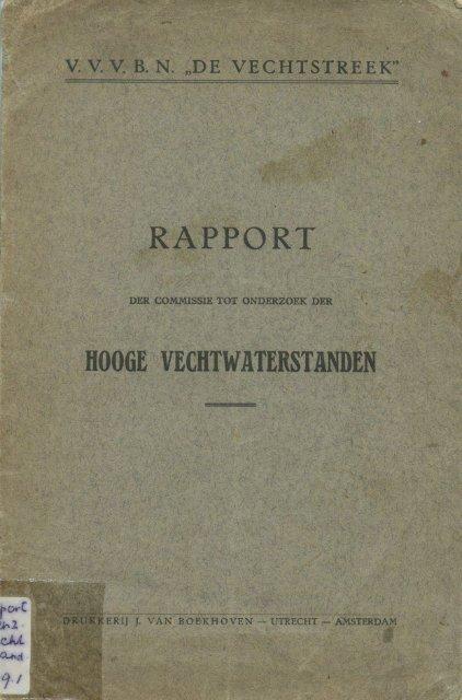 Rapport Vechtwaterstanden 1929