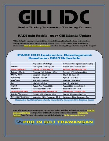 PADI Asia Pacific Update the PADI IDC Indonesia in the Gili Islands 2017