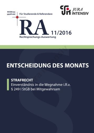 RA 11/2016 - Entscheidung des Monats
