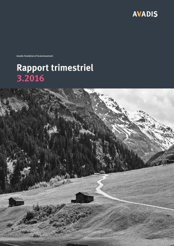 Avadis fondation d'investissement rapport trimestriel 3.2016
