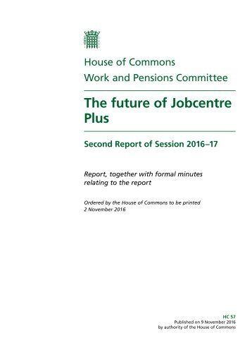 The future of Jobcentre Plus