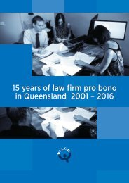 15 years of law firm pro bono in Queensland 2001 – 2016
