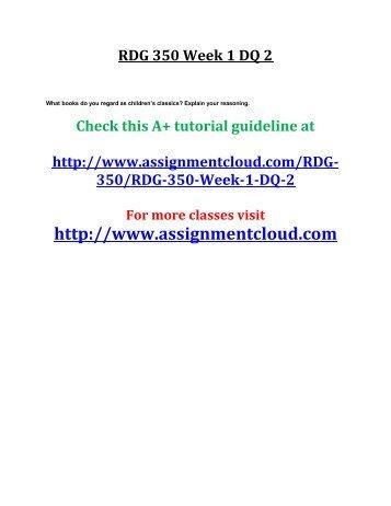 UOP RDG 350 Week 1 DQ 2