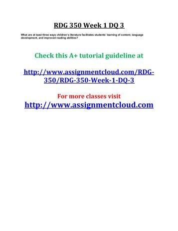 UOP RDG 350 Week 1 DQ 3