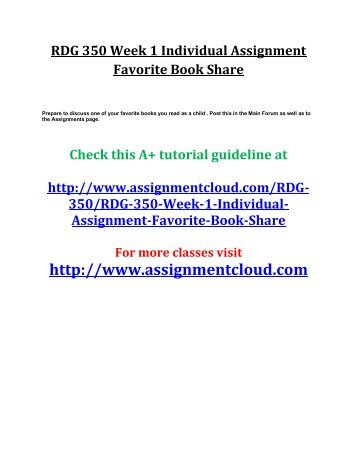 UOP RDG 350 Week 1 Individual Assignment Favorite Book Share