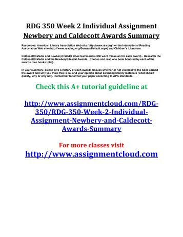 UOP RDG 350 Week 2 Individual Assignment Newbery and Caldecott Awards Summary