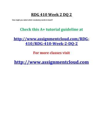UOP RDG 410 Week 2 DQ 2