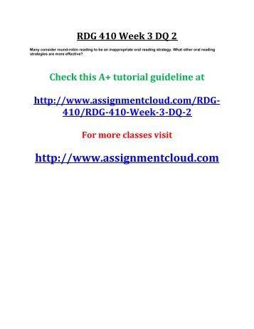 UOP RDG 410 Week 3 DQ 2