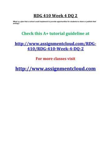 UOP RDG 410 Week 4 DQ 2
