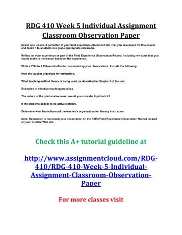 examples of classroom observation papers