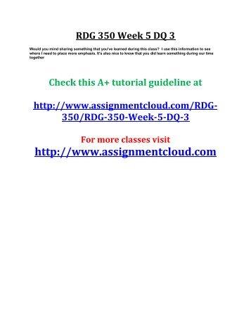 UOP RDG 350 Week 5 DQ 3