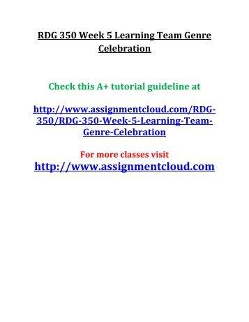 UOP RDG 350 Week 5 Learning Team Genre Celebration