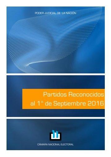 Partidos Reconocidos al 1° de Septiembre 2016