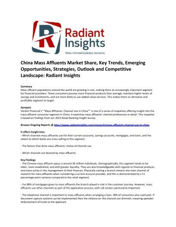 China Mass Affluents Market Share, Key Trends, Emerging Opportunities, Strategies, Drivers, Outlook and Competitive Landscape