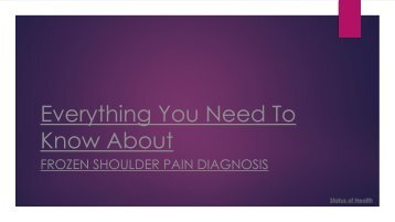 Everything you need to know about frozen shoulder pain diagnosis