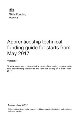 funding guide for starts from May 2017