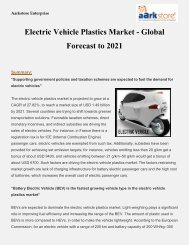 Electric Vehicle Plastics Market - Global Forecast to 2021