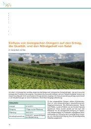 Einfluss von biologischen Düngern auf den Ertrag, die Qualität, und ...