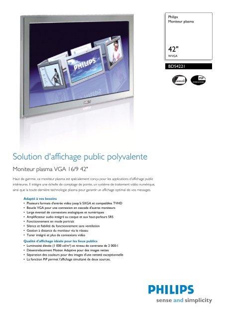 Philips Moniteur plasma - Fiche Produit - FRA