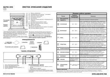 KitchenAid OVN 908 W - Oven - OVN 908 W - Oven RU (857923201010) Scheda programmi
