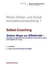 Modul Selbst- und Sozial kompetenzentwicklung 1 Selbst-Coaching