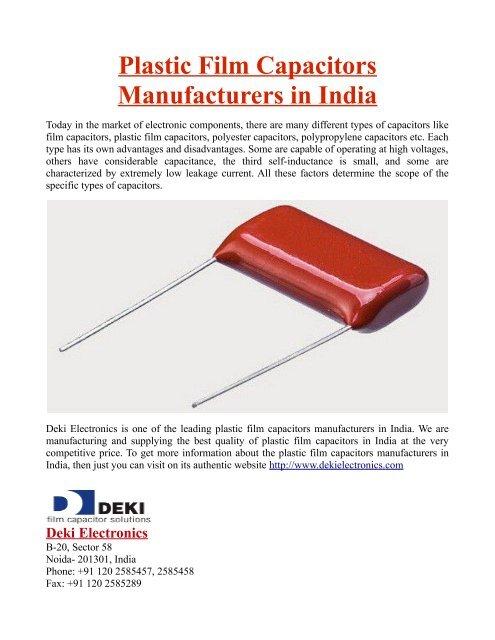 Plastic Film Capacitors Manufacturers in India