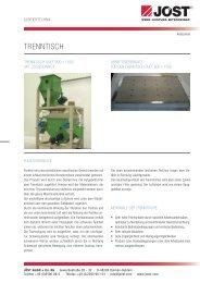 Sortiertechnik - Trenntisch - JÖST GmbH + Co.KG