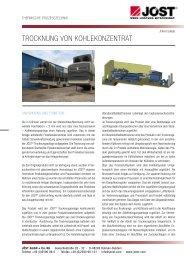 Trocknung von kohlekonzenTraT - JÖST GmbH + Co.KG