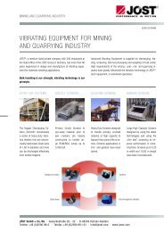 VIBRATING EquIPMENT fOR MINING AND quARRYING INDuSTRY