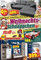 Rolli SB Möbelmarkt Weihnachts-Schnäppchen + Sonder-Beilage: Polster Spezial