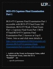 BUS 475 Capstone Final Examination Part 1 - Bus 475 Final Exam Part 1 Answers @ UOP E Tutors