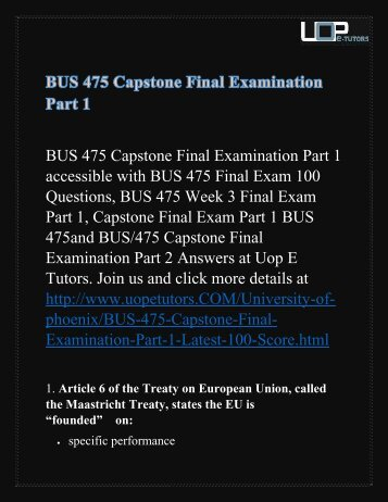 BUS 475 Capstone Final Examination Part 1 - Bus 475 Final Exam Part 1 Answers @ UOP E Tutors