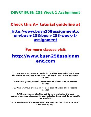 DEVRY BUSN 258 Week 1 Assignment