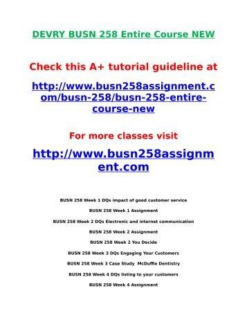 DEVRY BUSN 258 Entire Course NEW