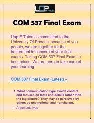 COM 537 Final Exam @ UOP E Tutors