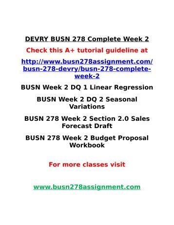 DEVRY BUSN 278 Complete Week 2