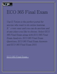 ECO 365 Final Exam | ECO 365 Final Exam Answers | ECO 365 Final Exam Analysis - UOP E Tutors