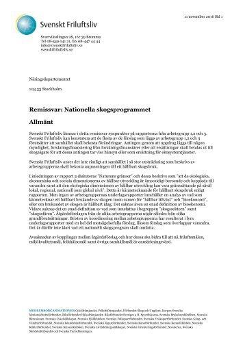 Remissvar Nationella skogsprogrammet Allmänt
