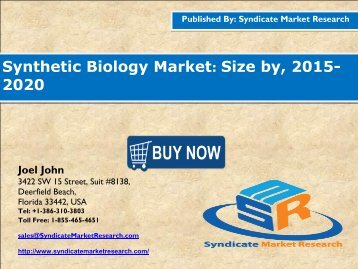 Synthetic Biology Market: Global Industry Insights,Consumption and Research to 2021