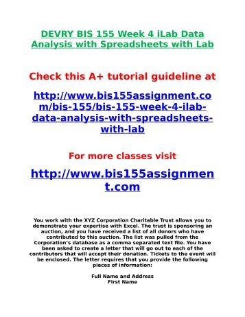 DEVRY BIS 155 Week 4 iLab Data Analysis with Spreadsheets with Lab