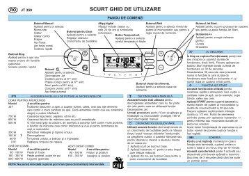 KitchenAid JT 359 alu - Microwave - JT 359 alu - Microwave RO (858735999640) Scheda programmi