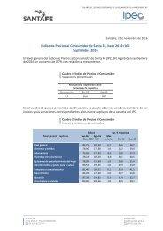 Índice de Precios al Consumidor de Santa Fe base 2014=100 Septiembre 2016