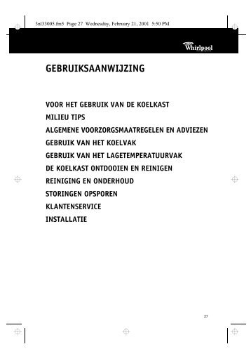 KitchenAid KRMC Stuttgart - Refrigerator - KRMC Stuttgart - Refrigerator NL (855063901030) Istruzioni per l'Uso