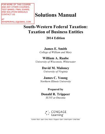 Solution Manual For South Western Federal Taxation 2017 Of Business Enies 17th Edition By Smith