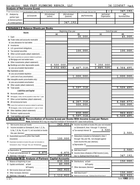 form 1065 vs form 8825  Form 13 (13) AAA FAST