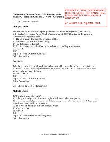 multinational business finance 12th edition solutions 72783538 multinational business finance solution manual 12th edition by etiman stone hill moffitt prepared by wasim orakzai im sciences kust isbn 0 321 1789.